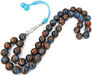 This is Natural Garnet Stone Rosary Blue and Brown