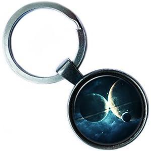 NASA Photograph Planet World Foto Welt Silver Keychain Silber Schlüsselanhänger