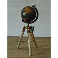 Annibells Vintage Look Black Rotating World Globe on a Wooden Tripod