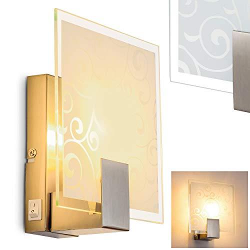 Wandlampe Rusty aus Metall in Nickel-matt gebürstet, moderne Wandleuchte mit Glas-Dekor, 1 x E14 max. 40 Watt, Innenwandleuchte mit Schalter am Gehäuse, geeignet für LED Leuchtmittel -