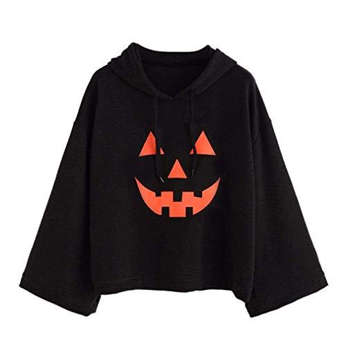 juqilu Damen Halloween Sweatshirt 3D Gruselig Kürbis Lächeln Gesicht Print Pullover Tops Bluse Schwarz L