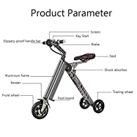 Micohenry Mini Electric Vehicle Scooter Electric Mobility Tricycle Folding Electric Bicycle (Gray)