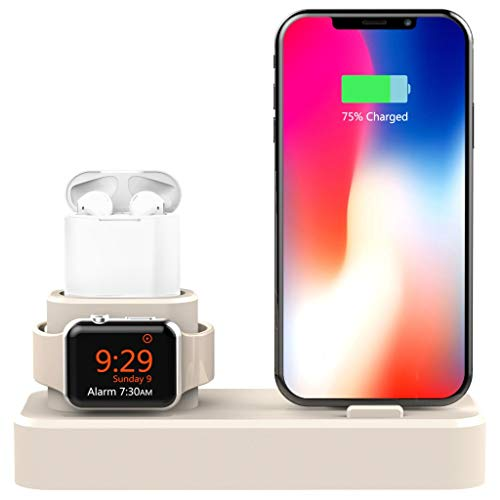 LRWEY 3 en 1 Support Universel Phone Dock de Station d'accueil pour iPhone pour Apple Watch pour Airpods Station de Charge Mode Nightstand Blanc