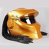 BSDDP Motorradhelm Universal Predator Vollgesichtsmaske Carbon Fiber NECA Ironman Fransen Zöpfe Motorradhelm,Gold-L