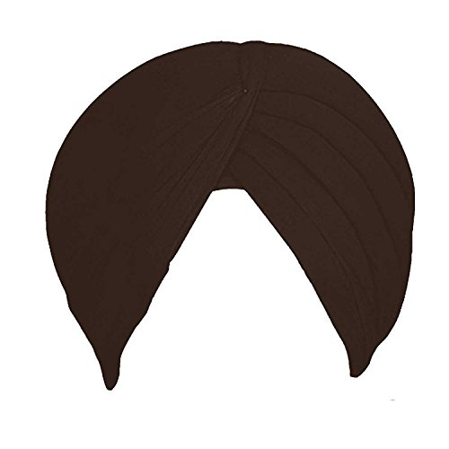 Melaska's Shahi Sikh Traditional Turbans/Punjabi Hat/Punjabi Pagri/Sikh Full Voile Turban for Mens/boys (Dark Brown)