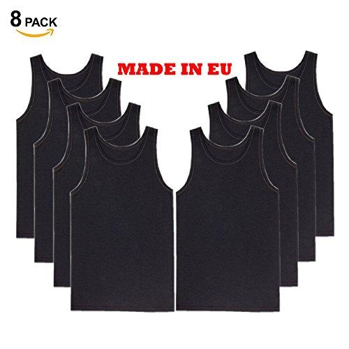 4-8er Pack Herren Classic Unterhemden, Männer Achselhemd/Muskelshirt, Atmungsaktive T-shirt/Tank Top fur Business Sport- 100% Baumwolle- Feinripp (glatt)- Schwarz, Weiß, Grau 9/8er Pack Schwarz