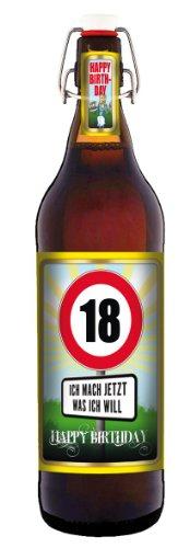 Geburtstag 18 Jahre – Herzlichen Glückwunsch – 1 Liter Flasche mit Bügelverschluss