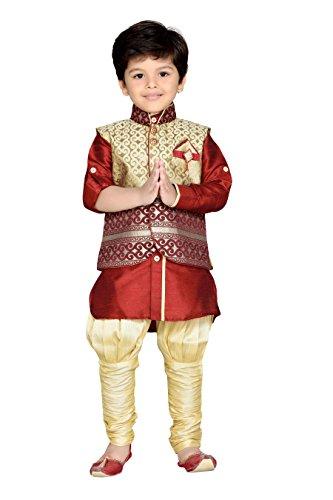 AJ Dezines Boy's Kurta Pyjama Waistcoat Set (636-MAROON-10_Maroon_10-11 Years)