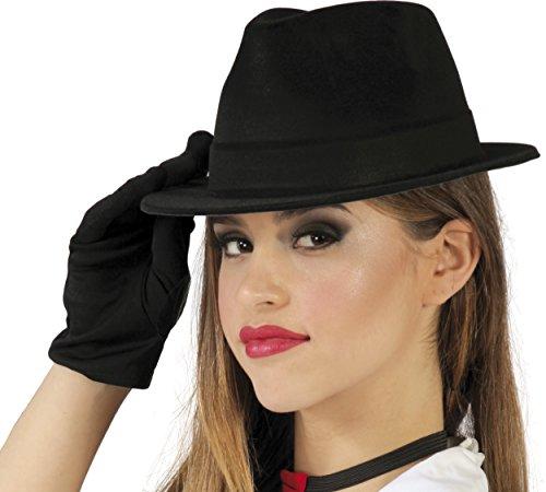 Guirca Fiestas GUI13458 - Beflockter schwarzer Al Capone-Hut