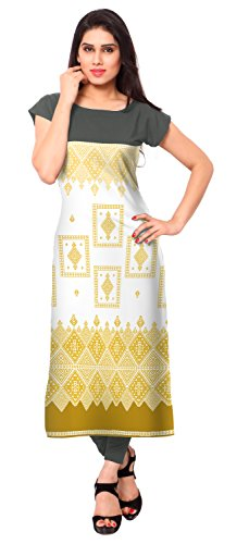 AHALYAA-Yellow-Color-Cap-Sleeve-And-Boat-Neck-Faux-Crepe-Kurti