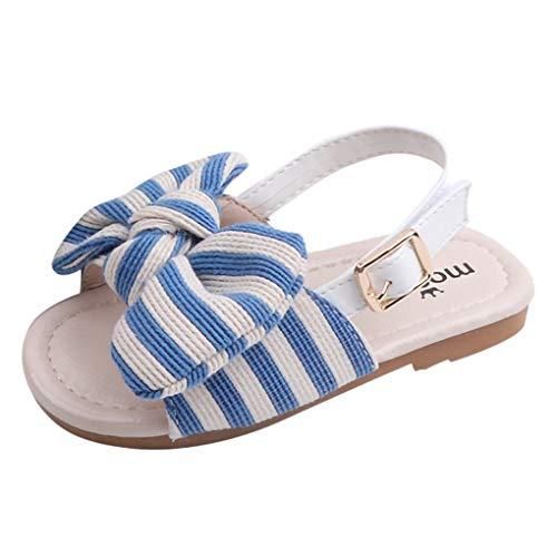Dorical Baby Sandalen Striped Bowknot Sommer Kleinkind Babyschuhe Krabbelschuhe Pantoletten Hausschuhe Geschlossene Strand Sandale Schuhe Sommer 1-6 Jahre(Blau,12-18Monate) -