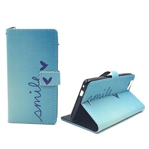 König-Shop Handy-Hülle für Wiko Pulp Fab 4G Klapp-Hülle aus Kunst-Leder   Inklusive Panzer Schutz Glas 9H   Sturzsichere Flip-Case in Blau   Im Smile Motiv Blau