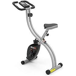 ATIVAFIT Vélo d'exercice Pliable 8 Niveaux de résistance F-Vélo avec capteur de fréquence Cardiaque + Support de téléphone