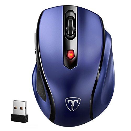 VicTsing Mini Schnurlos Maus Wireless Mouse 2.4G 2400 DPI 6 Tasten Optische Mäuse mit USB Nano Empfänger Für PC Laptop iMac Macbook Microsoft Pro, Office Home- Dunkelblau