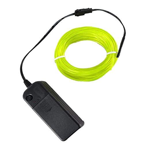Amasawa Neon Light El Draht mit Akku Wasserdicht glühender Strobing Elektrolumineszenz-Drähte leuchtende Linie Licht für Parteien und Halloween Dekoration (grün 3m)