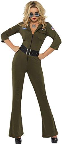 Top Gun Outfit Damen (Damen Erwachsene Film & TV Fancy Kleid Top Gun Aviator Lizenziertes Kostüm Outfit grün Gr. S,)