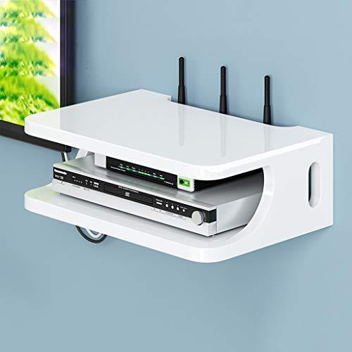 HONGYU Möbel Wandmontage-Regalhalterung für WLAN-Router TV-Box Set Top-Box-Modems Kabelboxen DVD-Player Streaming-Mediengeräte abstellraum Regal (Farbe : White)