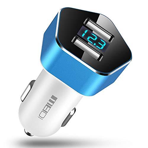 Meidi Caricabatteria Auto, Caricatore Adattatore Universale USB 2 Porte 4.8A (2x2.4A) con voltmetro Digitale a LED per iPhone, iPad, Tablet, Smartphone e Gli Altri dispositivi USB by Divi (Blu)