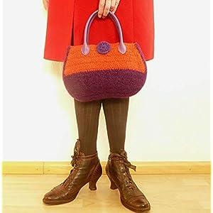 Henkeltasche Damen Handtasche gehäkelte Tasche bunt