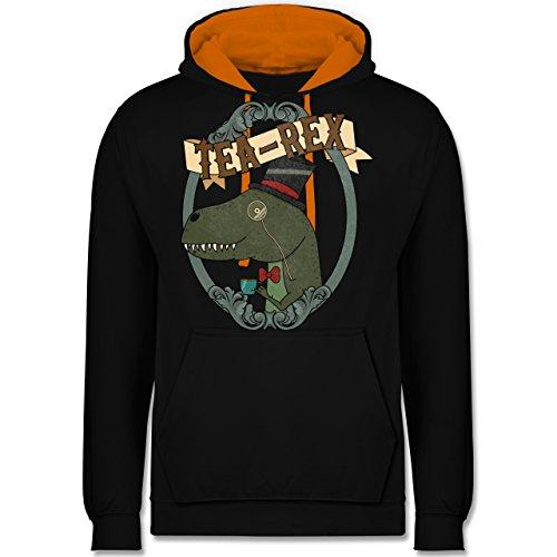 Comic Shirts - Tea-Rex Rahmen - XL - Schwarz/Orange - JH003 - Kontrast Hoodie Orange Silk Bow Tie