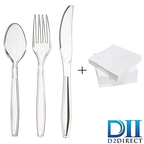 D2 DIRECT Plastic Cutlery Combo Set 150 Clear Utensils [50 Spoons, 50 Forks, 50 Knives] Heavy-duty, disposable/reusable Bulk Pack supplies for Home Parties, BBQ, Takeaway, Picnics – with 50 Napkins
