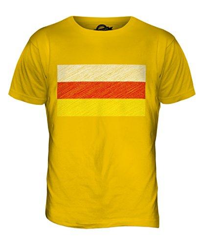 CandyMix Nordossetien-Alanien Kritzelte Flagge Herren T Shirt Dunkelgelb