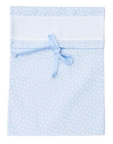 Filet - sacchetto porta corredino ospedale neonato | 100% cotone | con inserto in tela aida da ricamare - azzurro