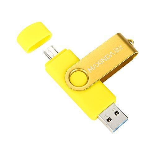 MAXINDA 64GB Penna USB 3.0 Micro 2in1 Memoria Stick per Android Telefono, Tablet e PC (Giallo)