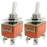 SODIAL (R) 2 Pz Interruttore a levetta AC 250V 15A Amp ON / OFF 2 Posizione DPST