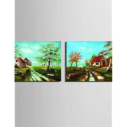 OFLADYH ® mini formato e-pittura a olio domestica moderna giardino cottage mano puro disegnare pittura decorativa frameless , 7