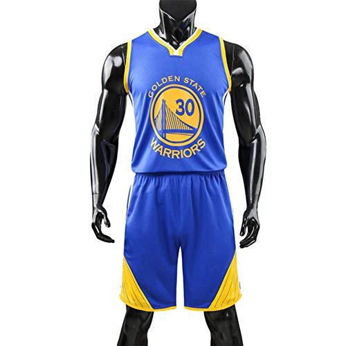 NBA 30# Warriors Jersey Männlichen Basketball Stickerei Kleidung Anzug Trainingsbekleidung Outdoor Sport Kleidung,Blue,L
