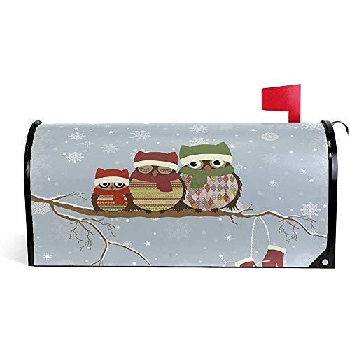 Chloe Alsop Mailbox Dekor Weihnachten Schnee Winter Eulen sitzen Zweig lustige Mailbox deckt magnetische saisonale Bunte Muster Home Häuser Briefkasten Cover Dekorationen, 21 x 18 Zoll Standardgröße -