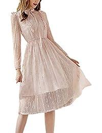 f74e8db5cfae Targogo Abiti da Sera Donna Festivo Vestito Pizzo Autunno Manica Lunga  Abbigliamento Vintage Collo Coreana Monocromo