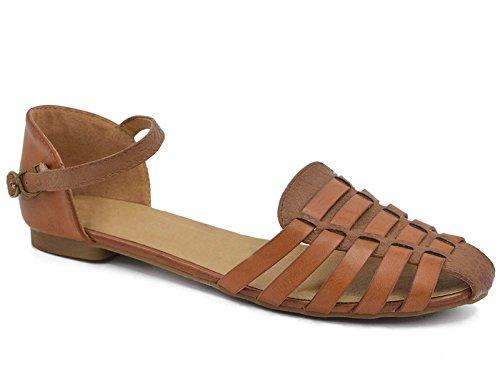 Greatonu Damen Knöchelriemchen Sandalen Geschlossene Toe Cage Flach Camel EU40