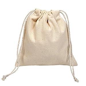 Hosaire 1x Aufbewahrungs Tasche Einfache Stil Weiss Leinenbeutel Tasche Storage Bag Schmuck Aufbewahrungsbeutel,10 x 12 cm