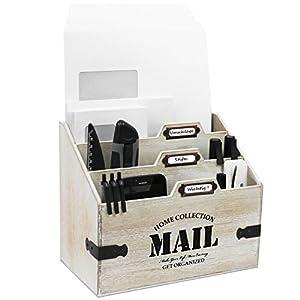 Wohaga® Holz Schreibtischorganizer 'Mail'mit 3 Holztaschen Briefhalter Briefständer Briefablage Postablage