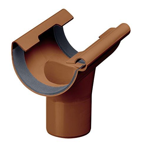 Inefa Ablaufstutzen DN 125/75, Braun halbrund Kunststoff, Regenrinne, Dachrinne