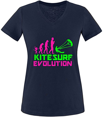 EZYshirt® Kitesurf Evolution Damen V-Neck T-Shirt Navy/Pink/Neongr