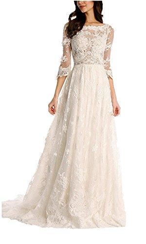 Mingxuerong 2018 Spitze Brautkleid mit 3/4 Lange Ärmel Bohemian Elegante Hochzeitskleider Elfenbein...