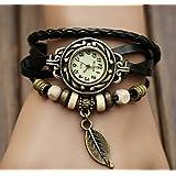 Retro Weave Wrap Round Leather Bracelet Quartz dress Watch