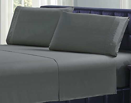 Livingston Home Kabel Mikrofaser Twin-Bettlaken-Set, Dark Grey, dunkelgrau, Twin