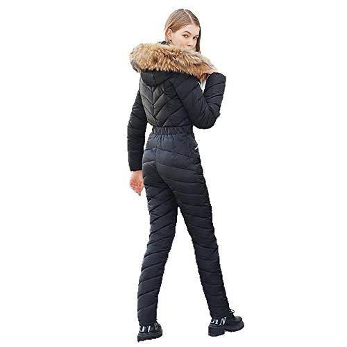 LIET Tuta da Sci Monopezzo da Donna Giacca da Snowboard Traspirante Pantaloni da Sci Set Tute Tute da Neve all'aperto @ Black_XXL