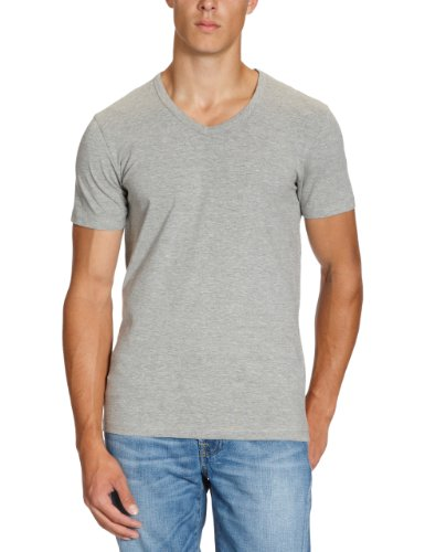 JACK & JONES Herren T-Shirt 12059219 Basic V-Neck Tee, Gr. 48 (S), Grau (LIGHT GREY MELANGE) (Prestige V-ausschnitt)