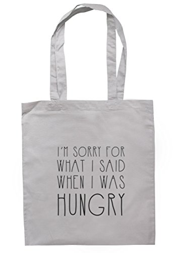 breadandbutterthreads Sorry per quello che ho detto quando i was Hungry Borsa 37,5 cm x 42 cm con manici lunghi Light Grey