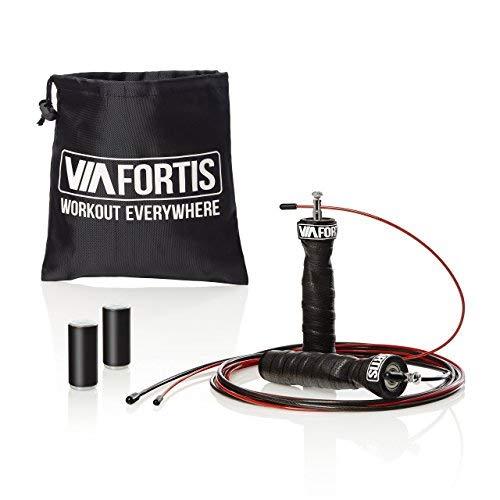VIA FORTIS Profi Springseil mit Gewichten – Speed Rope für Calisthenics, CrossFit, Boxen und Fitness – mit Kugellager, 2 Stahlseilen und Tasche – Länge verstellbar für alle Körpergrößen