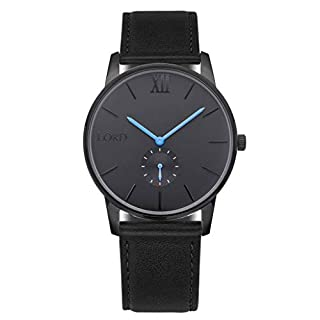Lord Timepieces Luxus Herren Einsamkeit Schwarz Blau Uhr - Italienisches Lederband - 42mm Japanische Miyota Uhr