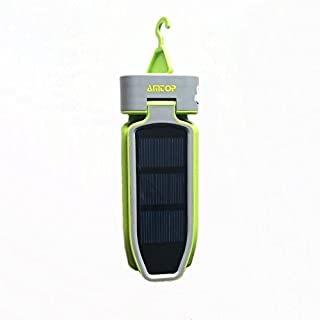 Amtop Portable Solar Panel Collapsible Clover Camping Tent Lantern Lighting Lights Flashlight for Hiking / Camping / Jogging / Emergencies / Hurricanes / Outages (Green)