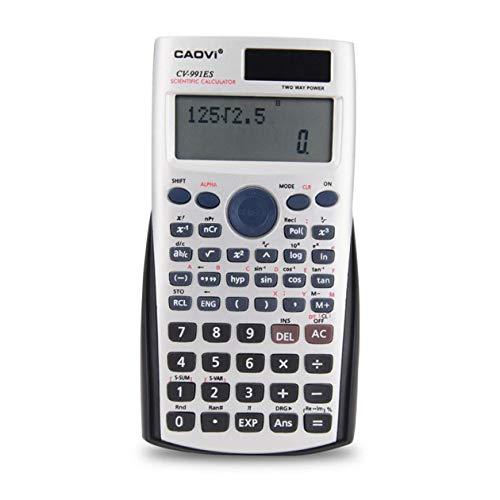BIYI Handheld Professional Multifunktions-LCD-2-Zeilen-Display Wissenschaftlicher Taschenrechner Solarbetriebene Buchhaltung Mathematischer Taschenrechner (silber)