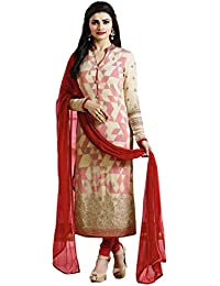 VIHA Women's Georgette Dress Material (PRST_05_DD_Free Size_Red)