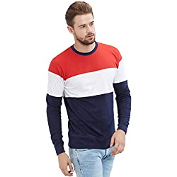 LEWEL Men's Stylish, Young & Trendy Red, White, Navy Blue Round Neck Full Sleeve Color Block T-Shirt (100% Cotton Bio Washed)
